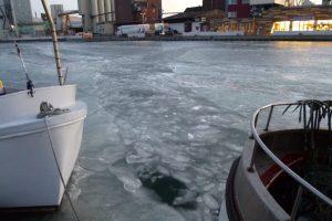 Eis im Hafenbecken